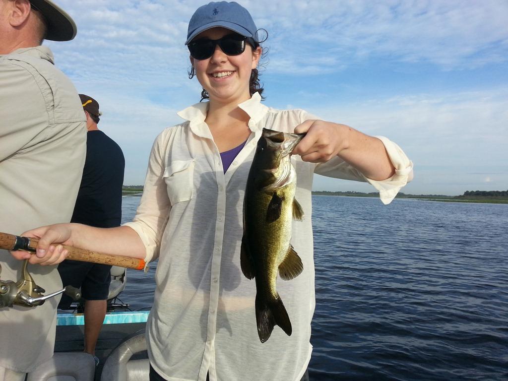 First bass 7lb lake toho largemouth orlando bass fishing for Bass fishing guides orlando fl